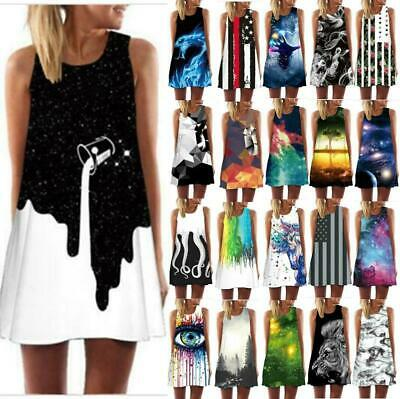 Summer Sleeveless Sundress 3D Print Casual Dress Womens Short Beach Mini Dresses