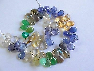 """Natural Mix-Stones faceted pear drop gemstone beads 9-11mm 102cts 8"""" Strand"""