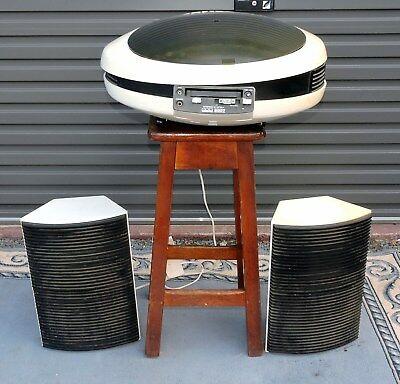 "GEC Weltron 2007 ""Spaceship"" Stereo System, Built-in Turntable Track & Radio"