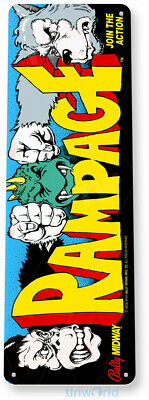 TIN SIGN C497 Rampage Arcade Game Room Shop Marquee Metal Sign Decor Decor Retro