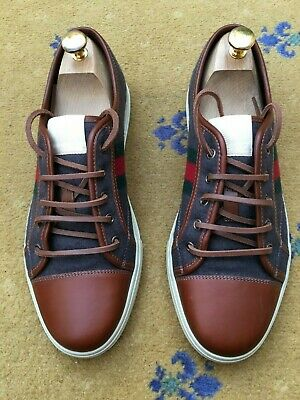 8cfe56d3ef8 Gucci Mens Trainer Brown Leather Fabric Sneakers Shoes UK 9.5 US 10.5 43.5  Web