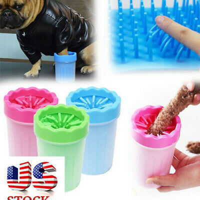 Portable Dog Paw Cleaner Plunger Mud Clean Brush Cup Foot Cleaner Feet Washer US