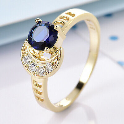 Size 9 Sun & Moon Blue Crystal Rhinestone Gold Filled Women Lady Wedding Rings