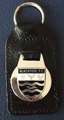 Vintage Blackpool FC team badge real leather fob keyring (made In England)