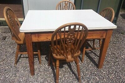 Vintage Solid Pine Kitchen / Bakers Table White Top + Drawer + 4 Pine Chairs