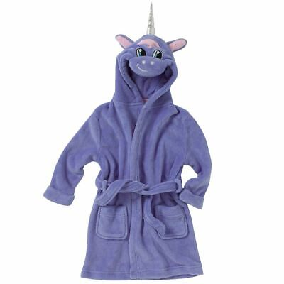 Animal Crazy Childs Boys Girls Unicorn Bath Robe Dressing Gown Soft Fleece Lilac