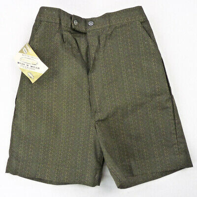 Vintage 60s Dark Green Border Print Shorts Kids 4/5 Small Carnegie Cone NOS NEW