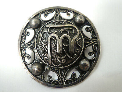 Antique Islamic Persian Arabic Sterling Silver Pin Brooch-Tughra Seal of Sultans