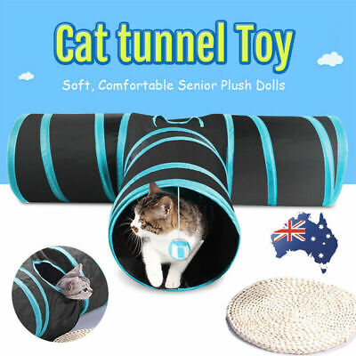Pet Cat Tunnel 3 Ways With Kitten Scratching Ball Y-Shape Collapsible Tube Toy