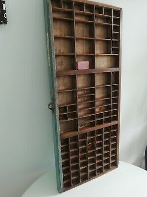 Antique Wooden Printers Typesetter Tray/Drawer over 100 spaces  printers lable