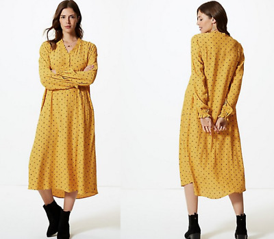 M&S COLLECTION  Printed Long Sleeve Relaxed Midi Dress ~ YELLOW MIX