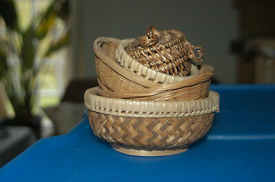 5 Small Handcrafted Baskets For Storage Or Craft Use