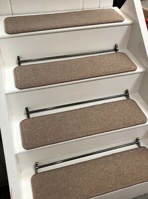 14 CARPET STAIR TREADS TWIST PILE  70CM X 20cm WOOL 80/20 FREE DOUBLE SIDED TAP