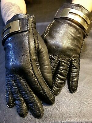 Gucci Gloves Retro Vintage Real Leather Cashmere Authentic Size 7 1/2