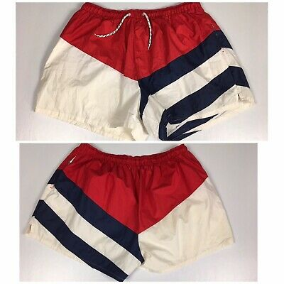 c75103a52c Vtg. 80s 90s Sailing Nautical Swim Trunks Shorts Van Heusen Red White Blue  XL