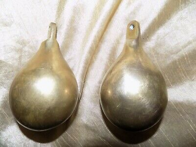 2 vintage antique brass pear shape clock weights