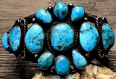 Rare Collectible Old Pawn Sterling Gem Blue Turquoise Cluster Cuff Bracelet 67+G