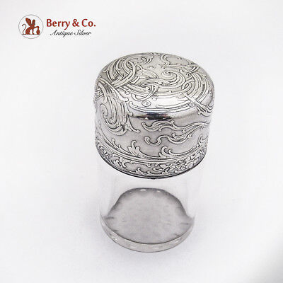 Tiffany and Company Bottle Jar Sterling Silver Lid Glass Body 1890