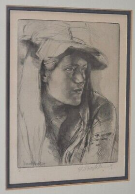 """Gerald Brockhurst Etching """"By The Window"""" c.1922"""