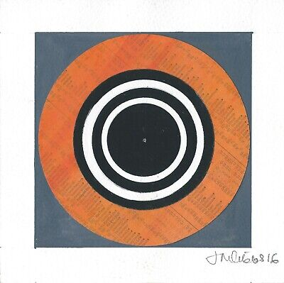 Mixed media, concentric circle, collage artwork in black, white, grey and orange