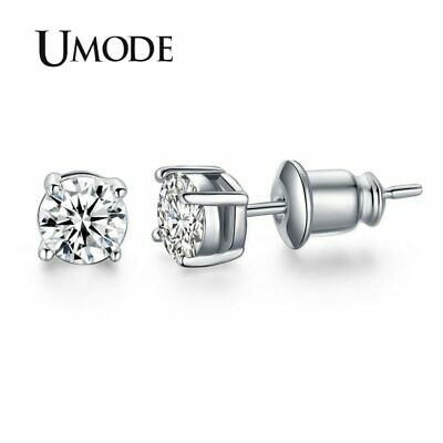 Post Stud Earrings White Gold Color Prong Small Cute AAA Top Grade 0.5ct Sona CZ
