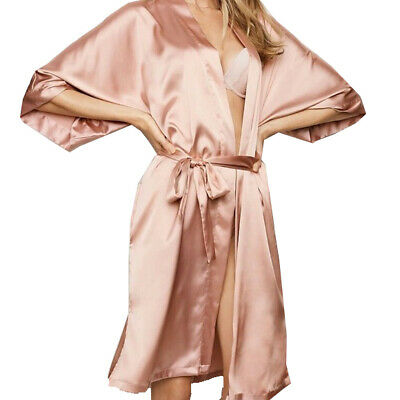 X-Small Victoria's Secret Champagne Satin Robe Kimono NWT