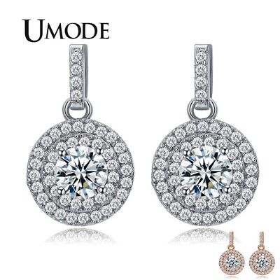 UMODE Latest Halo 5mm 0.5ct CZ White / Rose Gold Color Drop Earrings Jewelry