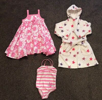 Girls bundle 3-4 years Barbie swimsuit / Pink Summer dress / M & S Dressing gown