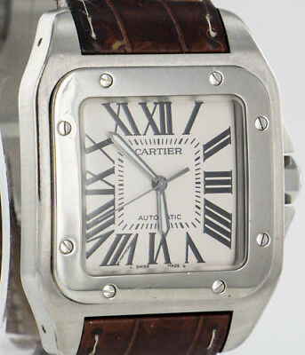 26a827b665cc1 CARTIER SANTOS 100 XL Stainless Steel Mens Automatic 38mm Leather Watch