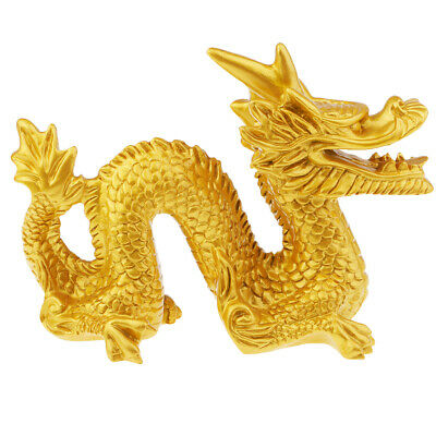 MagiDeal 1 Piece Vintage Resin Gold Chinese Feng Shui Dragon Figurine Statue