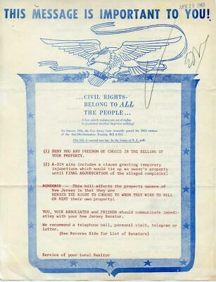 1963 Pro Housing Discrimination Action Letter Freedom Of Choice to Discriminate