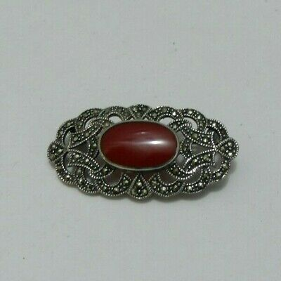 Victorian Style Solid Silver 925 Carnelian  Glass Marcasite Large Brooch Pin