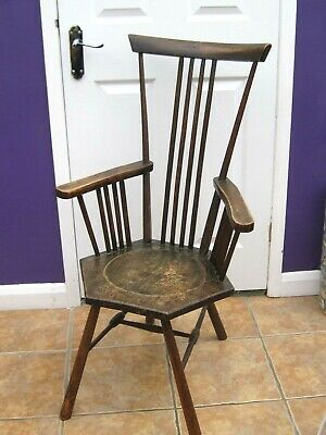 Liberty`s Arts and Craft wood chair - dished hexagonal seat,splayed legs