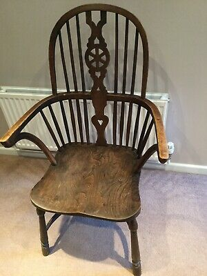 1 Antique High Back Windsor Wheelback Wheel Back Chair Carver Can Deliver