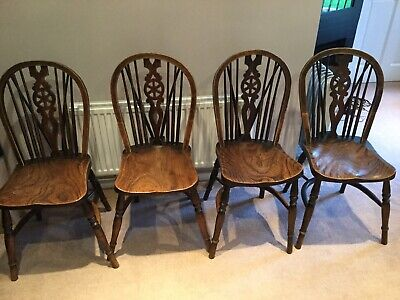 4 Antique Windsor Wheelback Wheel Back Chair Chairs Carver Can Deliver