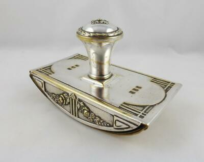 Lovely Antique Art Nouveau Silver Plate Desk Top Ink Blotter Rocker c 1900