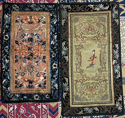 2 Antique Chinese Qing Dynasty Hand Embroidery Wall Hanging Panel Sleeve Band