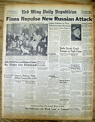 11  1939 headline display newspapers w RUSSIA invasion of FINLAND the WINTER WAR