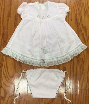 Vtg 12-18 mths linen Lace Baby doll dress panties diaper cover Embroidered pink