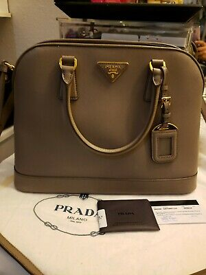 0480c79c1ef6 PRADA PROMENADE LUX Saffiano Crossbody Top Handle Bag in Cameo ...