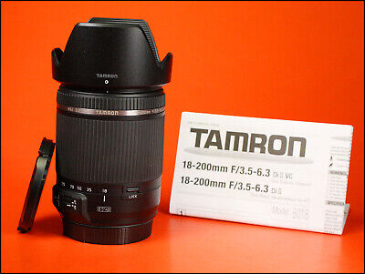 Tamron 18-200mm F3.5-6.3 VC Lens Canon Mount  Sold With Front & Rear Caps & Hood
