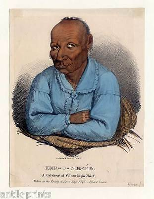Ker-o-menée-Winnebago Chief-Indian-Indianer - Lithographie-James Otto Lewis 1835