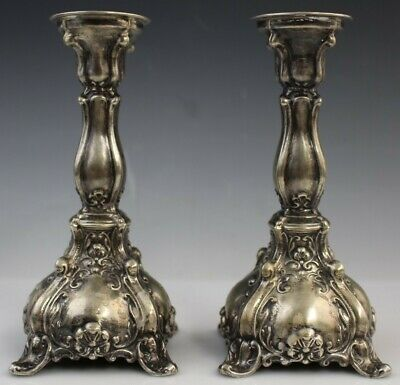 """Pair Antique Sterling Silver Ornate Art Nouveau 6"""" CandleSticks Candle Holders"""