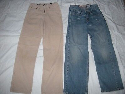 two pairs of Size 12 youth pants:   Levis jeans and Eddie Bauer corduroy pants