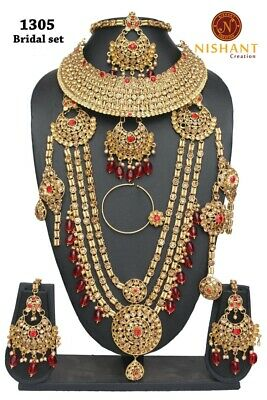 10pcs Bridal Necklace Set Red Lct Gold Kundan Jodha Akbar Party Ramadhn Eid Bridal & Wedding Party Jewelry