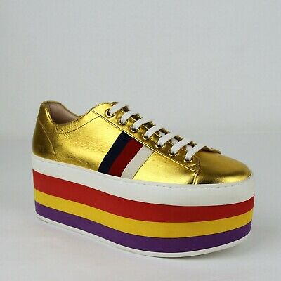 a53e940ab32  980 Gucci Womens Gold Metallic Leather Rainbow Platform Sneakers 37 474538  8068