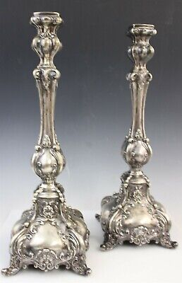 """Pair Antique Sterling Silver Ornate Art Nouveau 12"""" CandleSticks Candle Holders"""