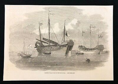 1857 Newspaper Print, Chinese War Junks of the Old Style, China Boats Ships