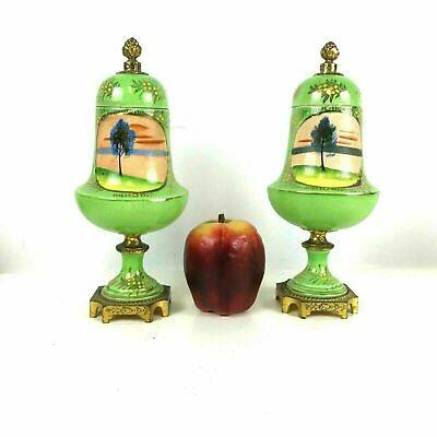 Pair of Vintage Japanese Nippon Mantel Urns in Bright Lime Green Glaze