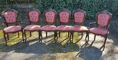Italian Rocco Style Ornate Pink Velvet Chairs X 6